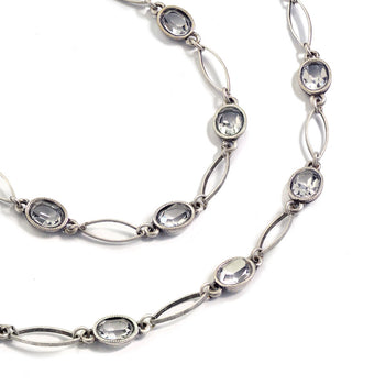Oval Crystal Station Necklace
