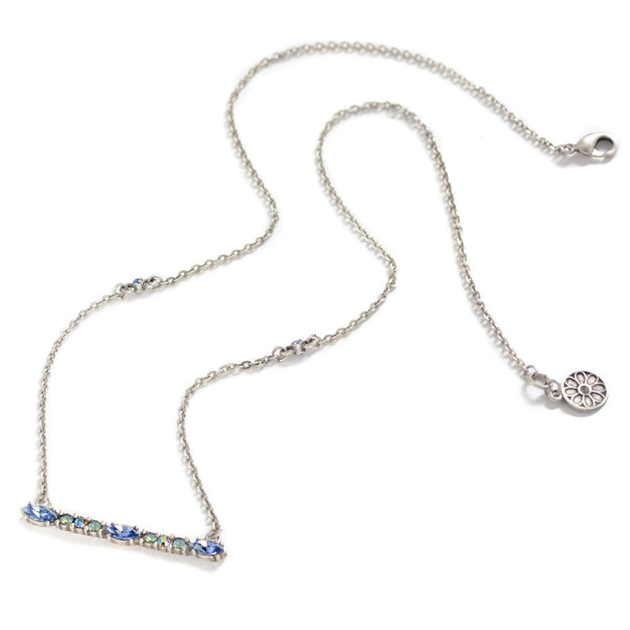 Silver Crystal Bar Necklace