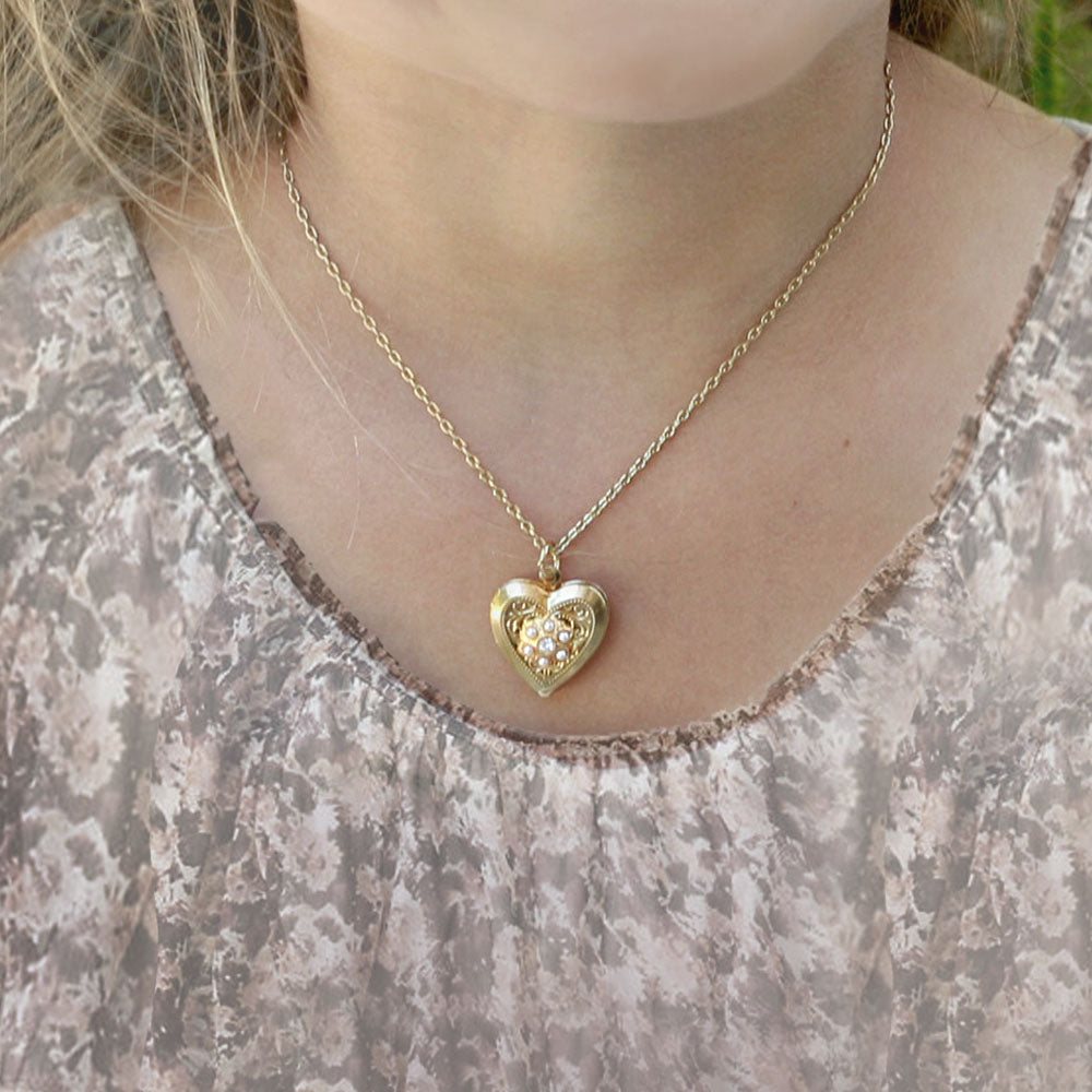 Little Girls Heart Locket Necklace