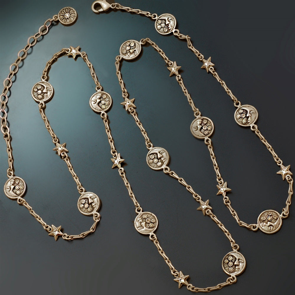 Moon and Stars Long Layering Necklace N1555 - sweetromanceonlinejewelry