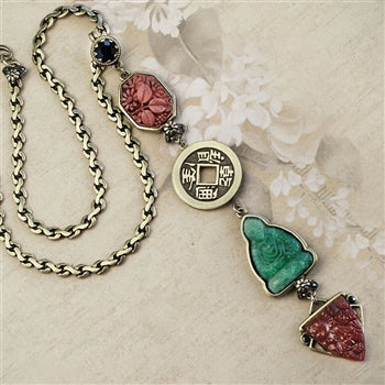 Chinese Jade Glass Buddha Deco Y Necklace N1566 - sweetromanceonlinejewelry