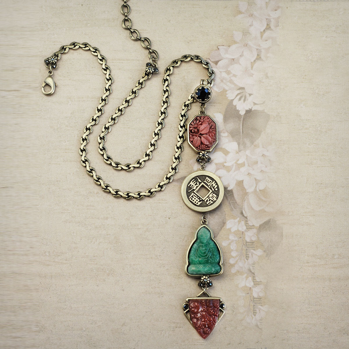 Chinese Jade Glass Buddha Deco Y Necklace N1566