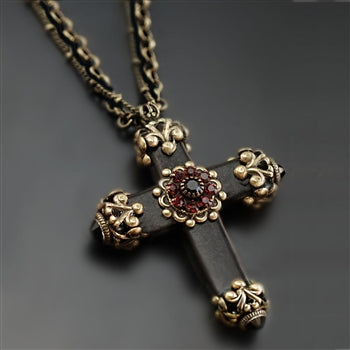 Victorian Black Cross Necklace N1570 - sweetromanceonlinejewelry
