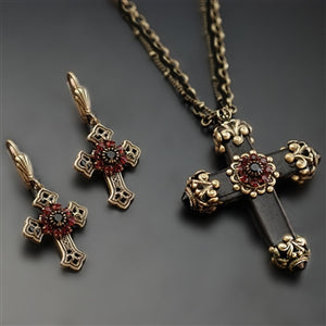 Victorian Black Cross Necklace & Earrings SET