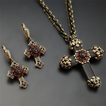 Victorian Black Cross Necklace & Earrings SET - sweetromanceonlinejewelry