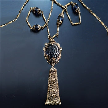 Antique Blue Glass & Enamel Tassel Necklace N1571