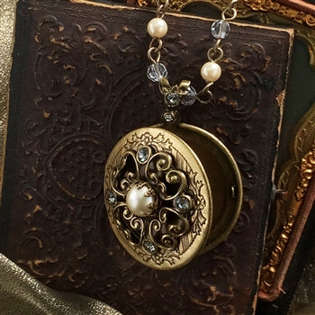 Pearl & Crystal Bronze Locket - sweetromanceonlinejewelry