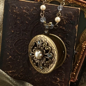 Pearl & Crystal Bronze Locket