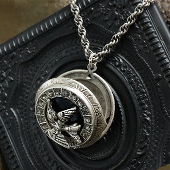 Swallow In Flight Silver Locket - sweetromanceonlinejewelry