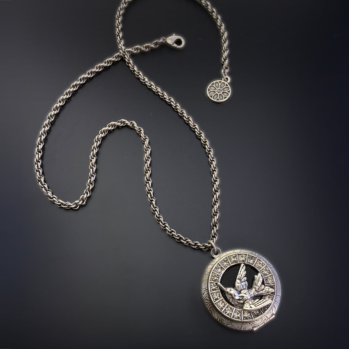 Swallow In Flight Silver Locket N1576