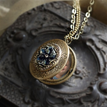 Jet Crystal Rosette Locket