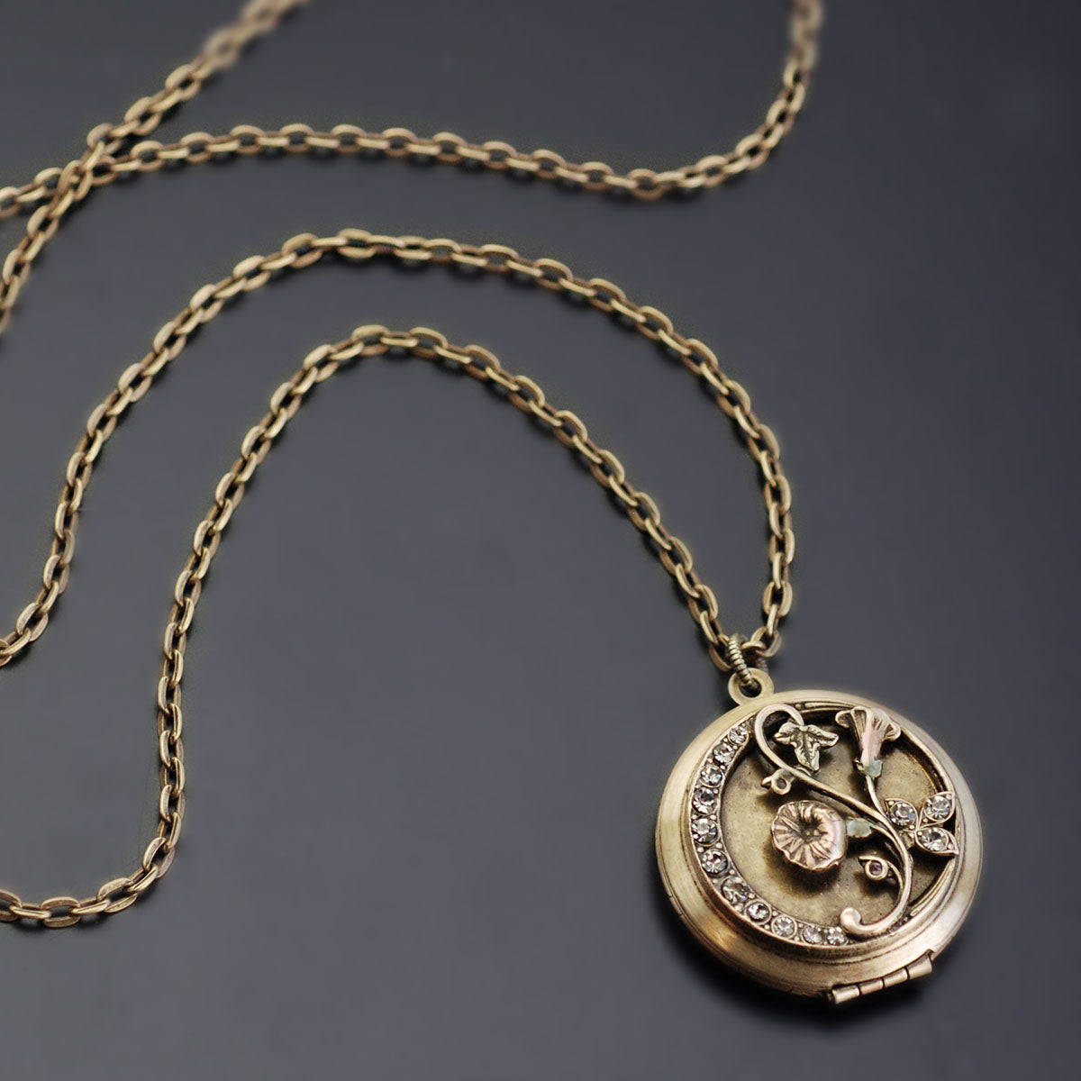 Morning Glory Bronze Locket