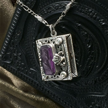 Amethyst Purple Intaglio Book Locket N1588 - sweetromanceonlinejewelry