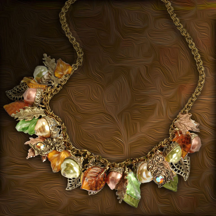 Squirrel's Harvest Charm Necklace N1613 - sweetromanceonlinejewelry