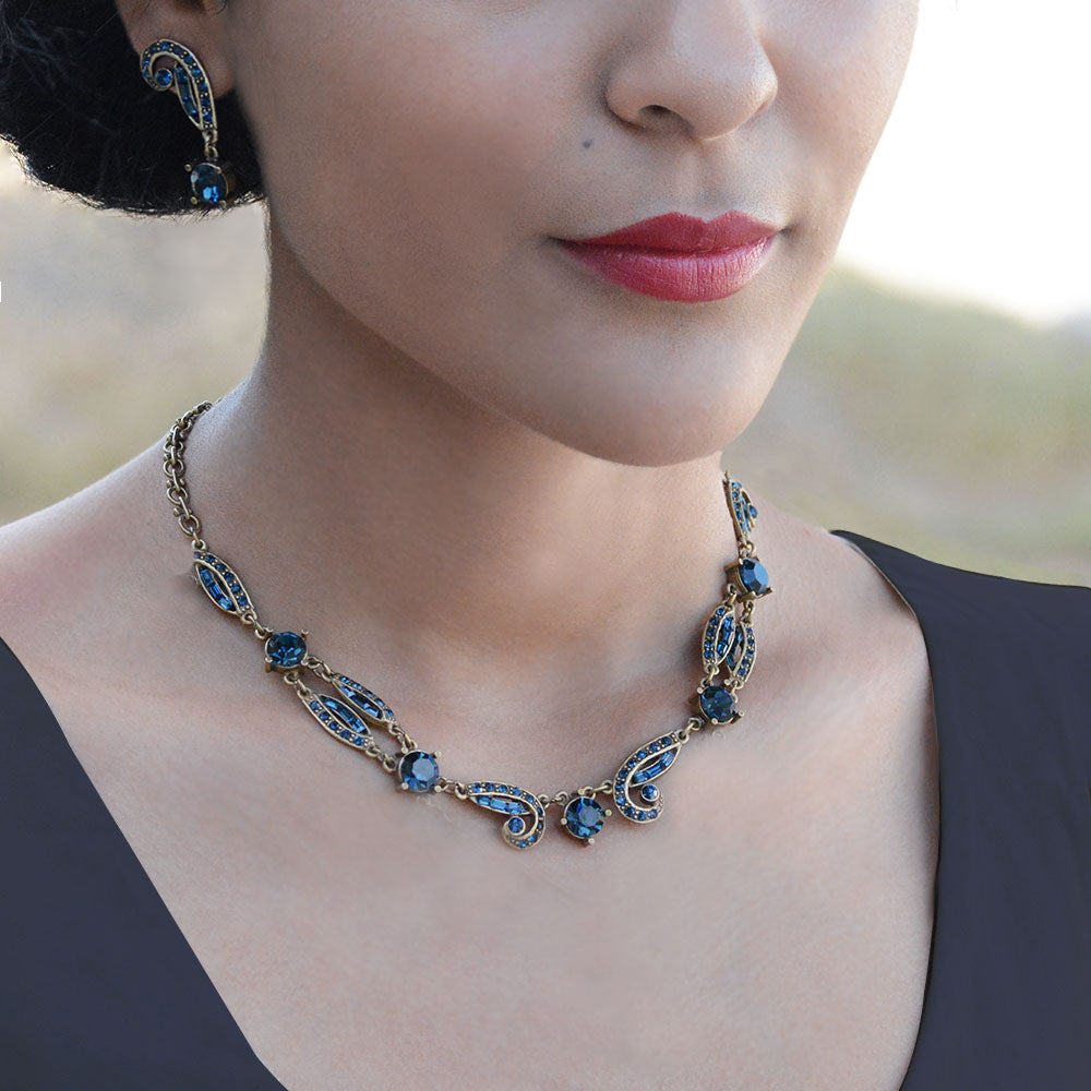 Art Deco Sapphire Blue Crystal Necklace