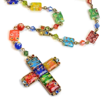 Millefiori Glass Candy Cross Rosary Necklace N218 - sweetromanceonlinejewelry