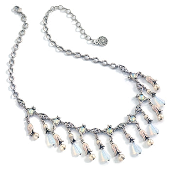 Silver Opal Lily Necklace