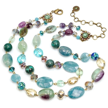 Gemstones and Crystal Bead Double Strand Necklace - sweetromanceonlinejewelry