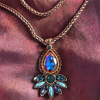 Vintage Peacock Pendant Copper Fire N3156-CF - sweetromanceonlinejewelry