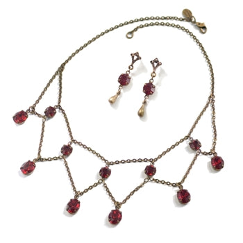 Delicate Vintage Glass Necklace & Earrings Set