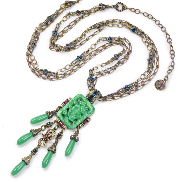 Art Deco Asian Vintage Jade Glass Fringe Necklace N3383