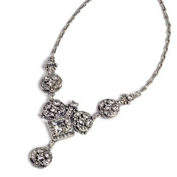 Art Deco Diamond Harlequin Wedding Necklace N451 - sweetromanceonlinejewelry