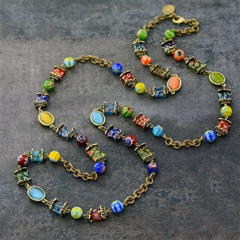 Millefiori Glass Candy Chain Necklace N463 - sweetromanceonlinejewelry