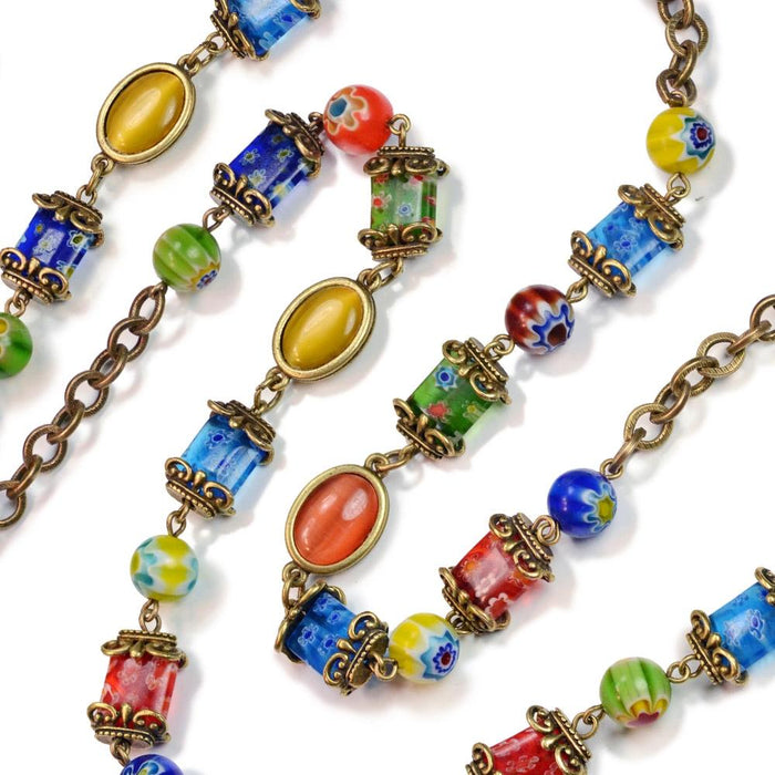 Millefiori Glass Candy Chain Necklace