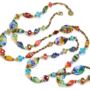 Millefiori Glass Candy Rainbow Bead Necklace N475 - sweetromanceonlinejewelry
