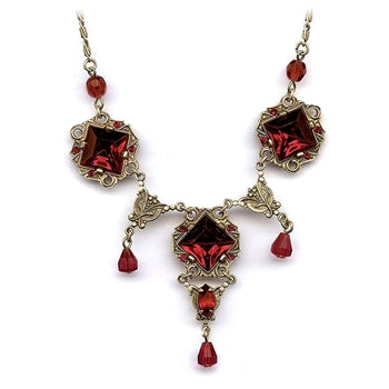 Art Deco Vintage Glass Squares Necklace N540 - sweetromanceonlinejewelry