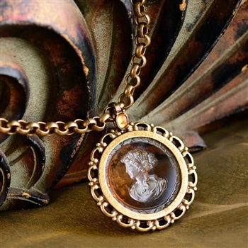 Intaglio Medallion Necklace N568-TO - sweetromanceonlinejewelry