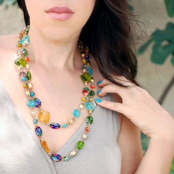 Candy Glass and Prism Necklace N586