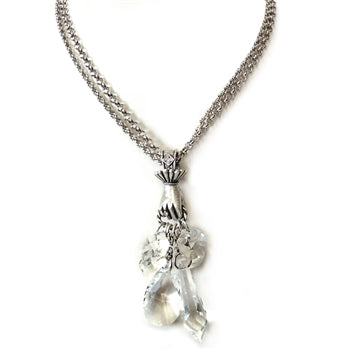 Hand Full of Crystal Necklace N629 - sweetromanceonlinejewelry