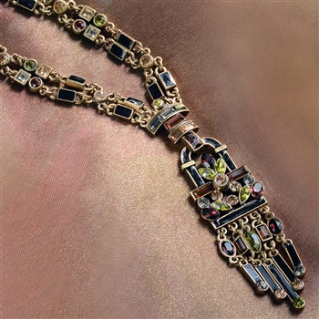 Art Deco Crystal Enamel Fringe Flapper Necklace N782