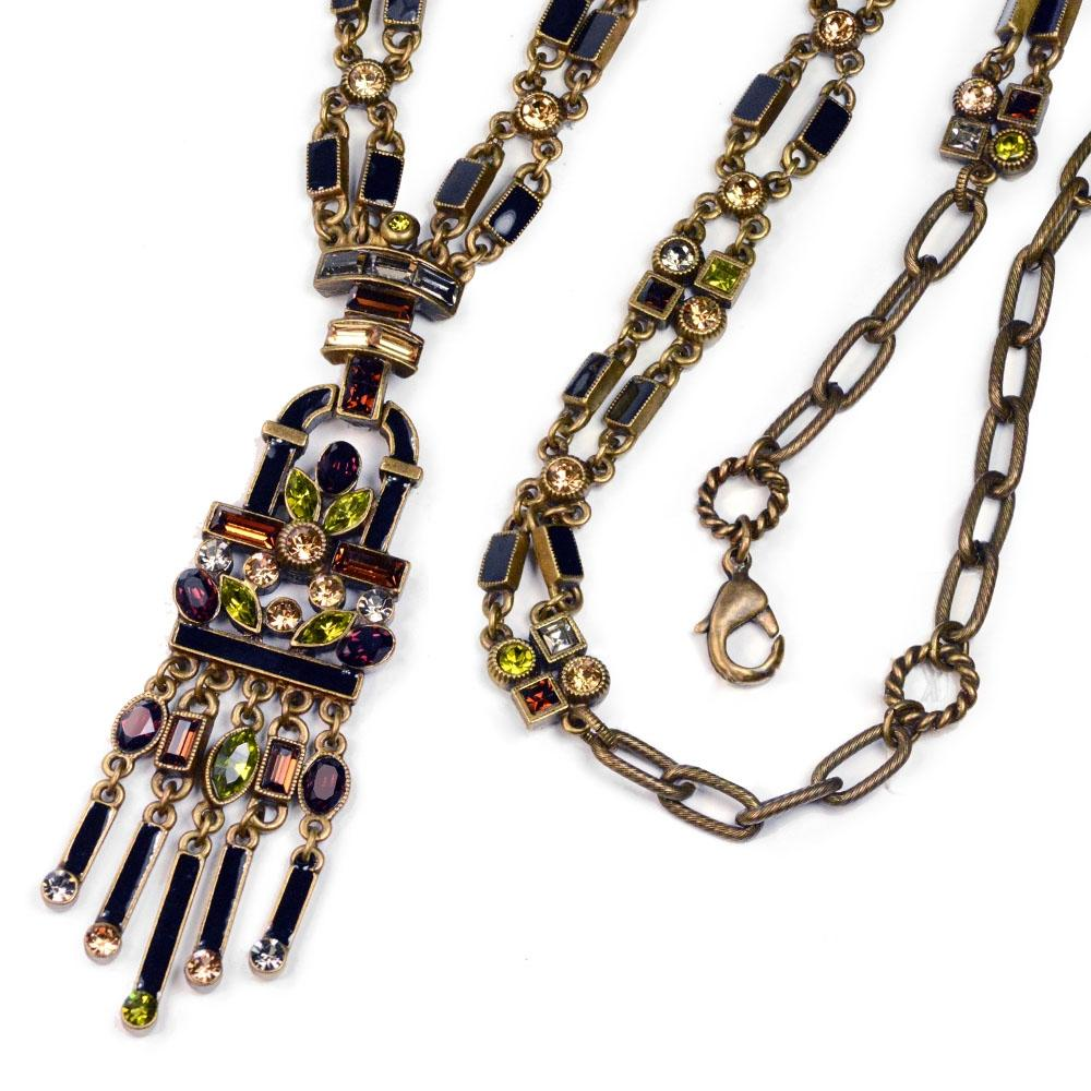 Art Deco Crystal Enamel Fringe Flapper Necklace N782 - sweetromanceonlinejewelry