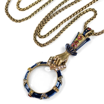 Art Deco Renaissance Enamel Magnifying Glass Necklace N825 - sweetromanceonlinejewelry
