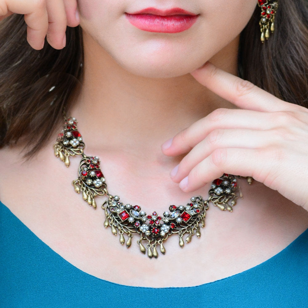 Somerset Garnet Statement Necklace N386 - sweetromanceonlinejewelry