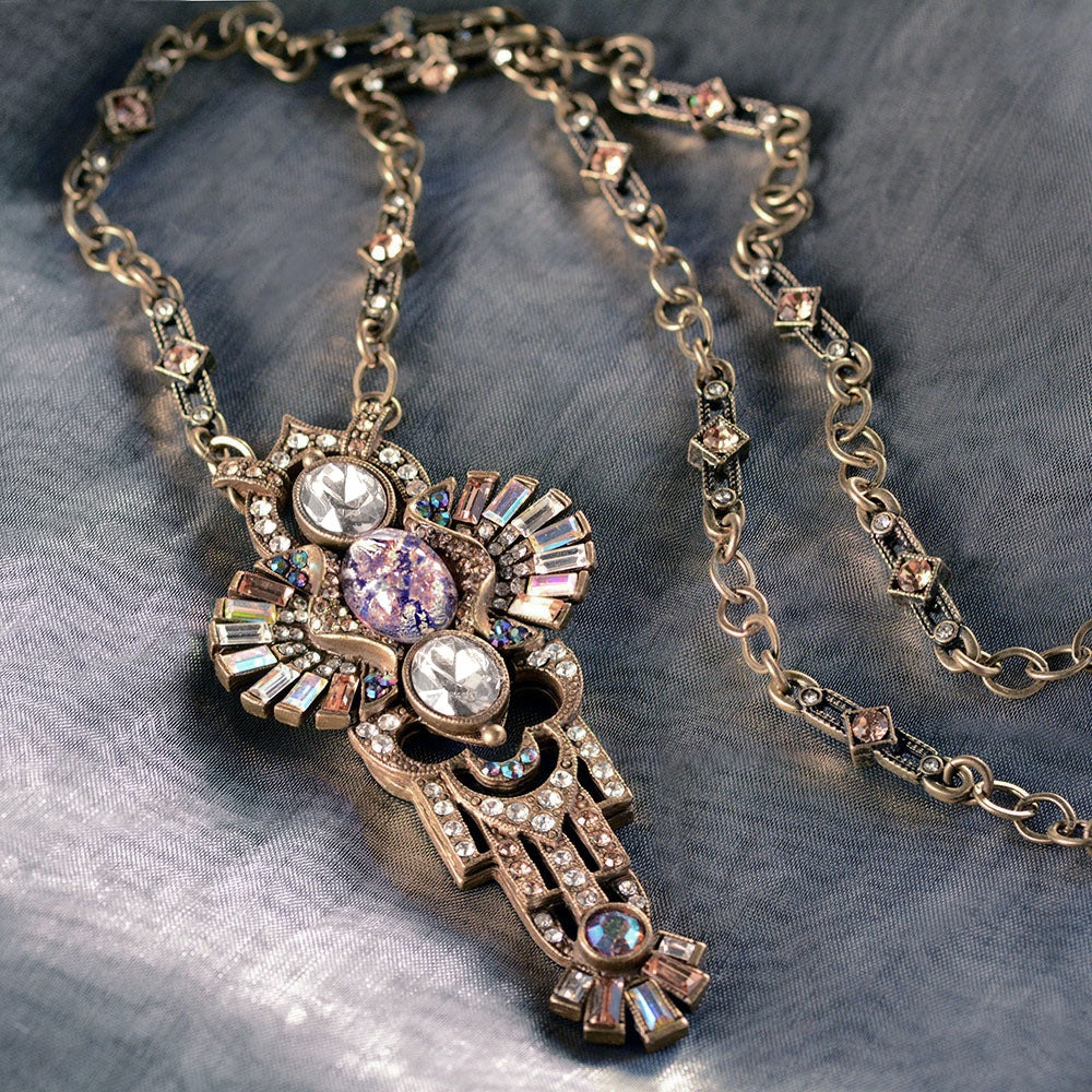 Art Deco Shell and Secret Mirror Vintage Necklace N8826 - sweetromanceonlinejewelry