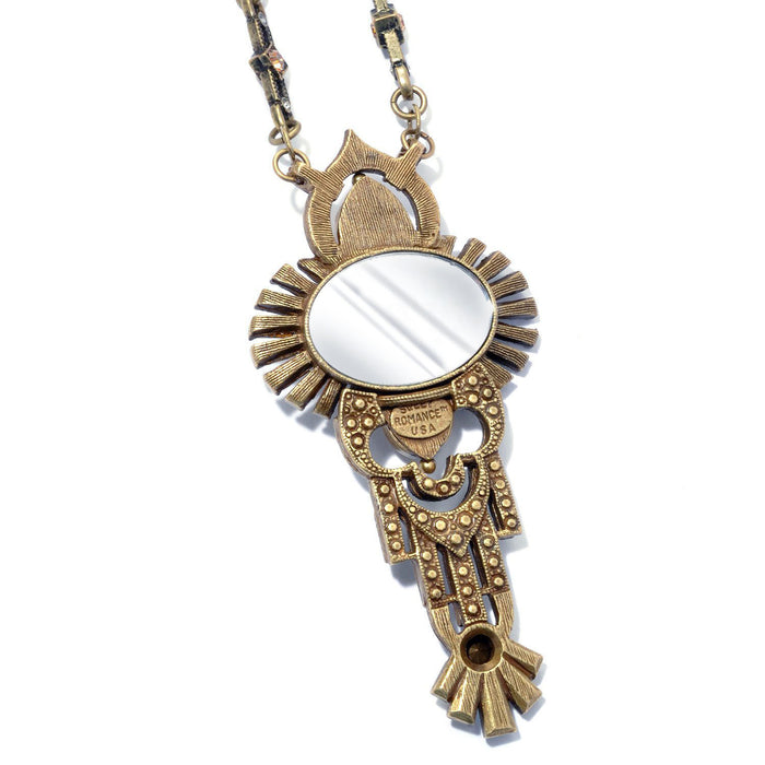Art Deco Shell and Secret Mirror Vintage Necklace N8826
