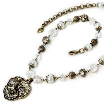 Pave Pansy and Pearls Necklace N922 - sweetromanceonlinejewelry