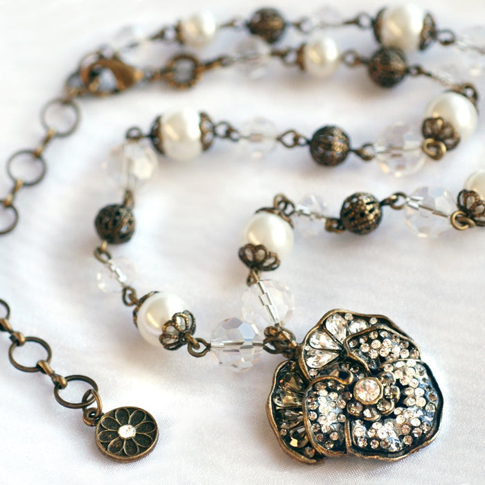 Pave Pansy and Pearls Necklace N922-WH