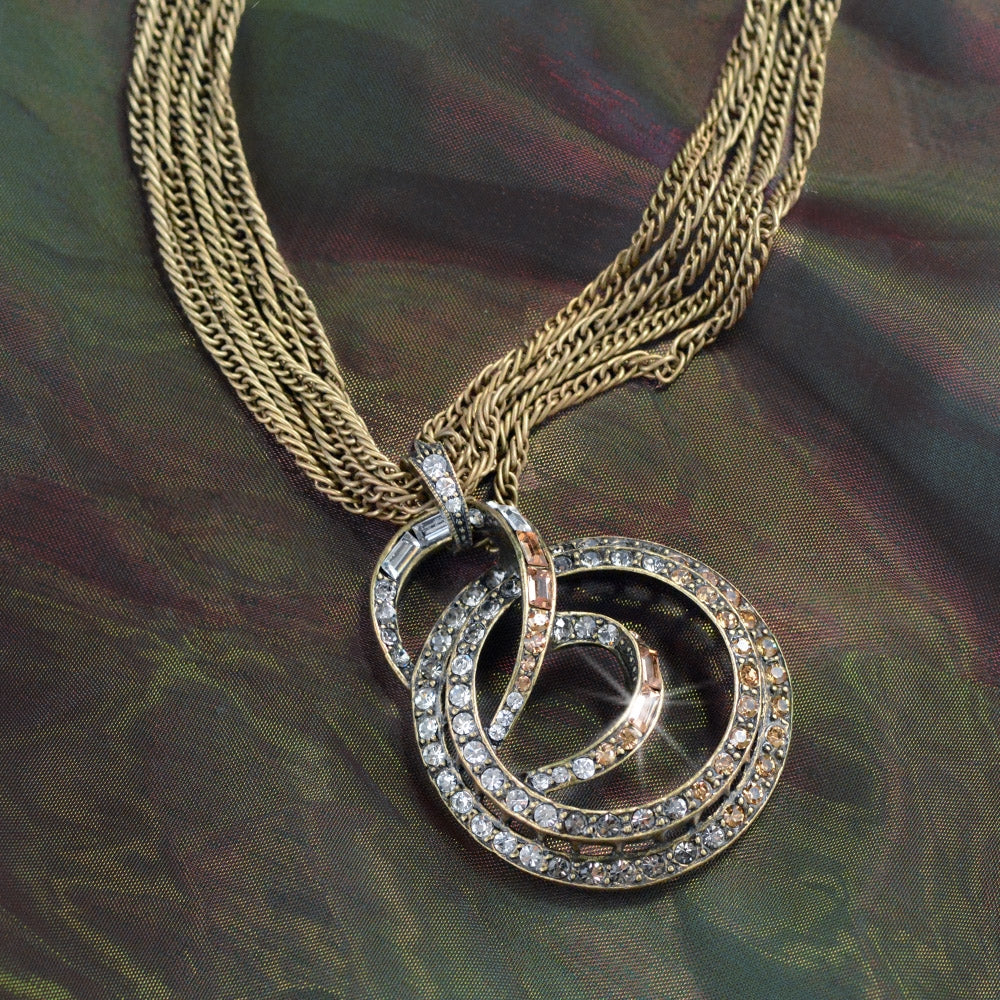 Art Deco Mid Century Modern Slinky Spiral Necklace N937 - sweetromanceonlinejewelry
