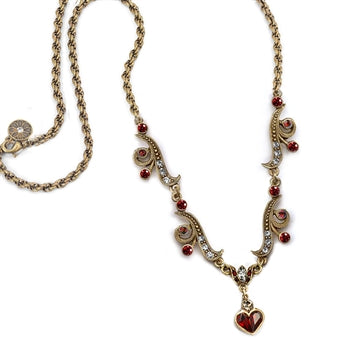 Garnet Hearts Necklace SR_N947 - sweetromanceonlinejewelry