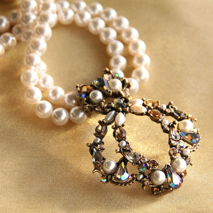 Jewel Encrusted & Pearl Necklace N952 - sweetromanceonlinejewelry