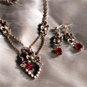 Victorian Garnet Sweetheart Necklace & Earring Set