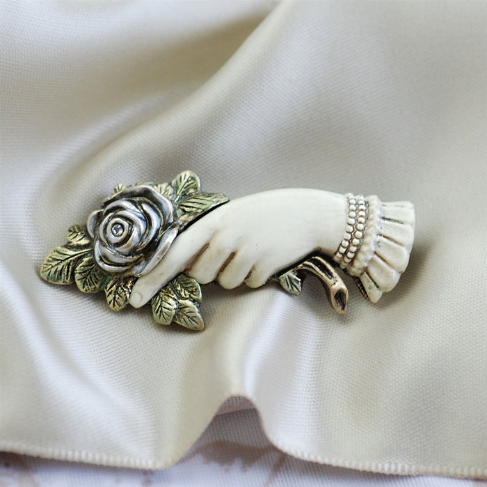 Victorian Rose Pin of Love and Friendship - sweetromanceonlinejewelry