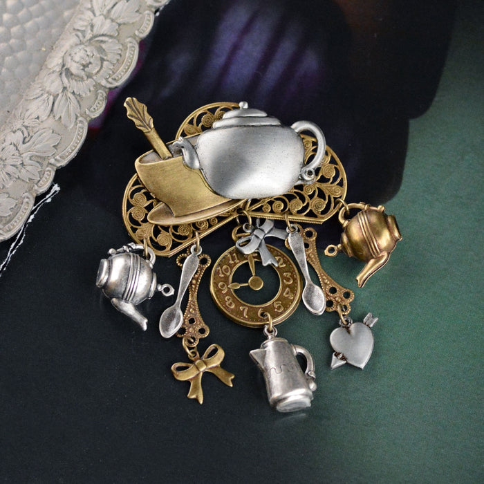 Mad Hatter's Tea Pin P151 - sweetromanceonlinejewelry