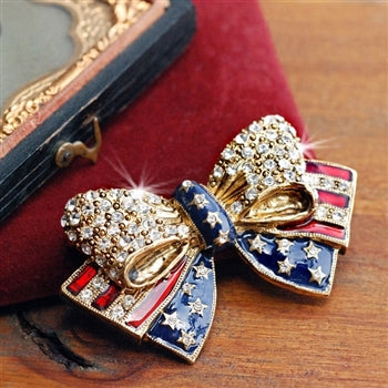 USA American Flag Bow Pin P1776 - sweetromanceonlinejewelry