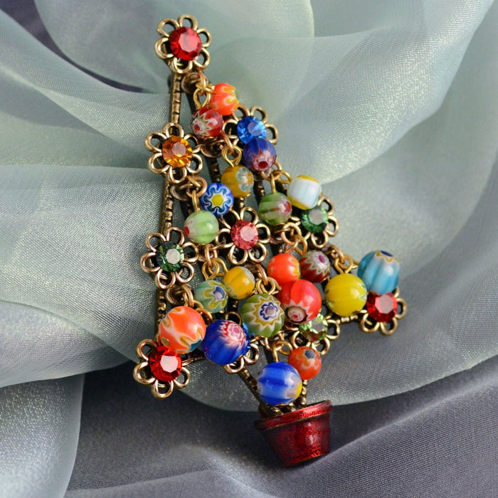 Millefiori Beads Tree Christmas Pin