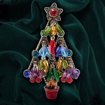 Crystal Beads Tree Christmas Pin